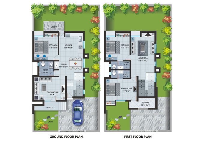 Twin Bungalow Layout Plan Patel Pride Aurangabad