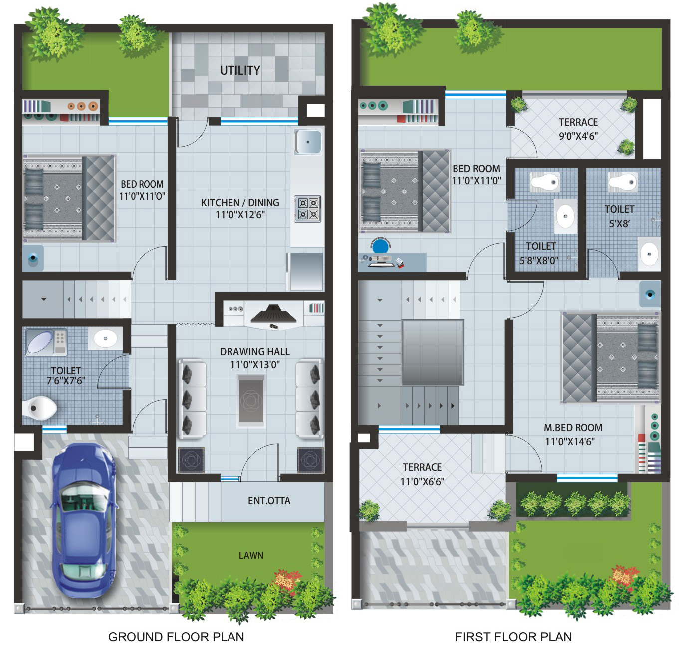 Home Design Plans gpird 003 duplex house 2d Home Design Plan Drawing