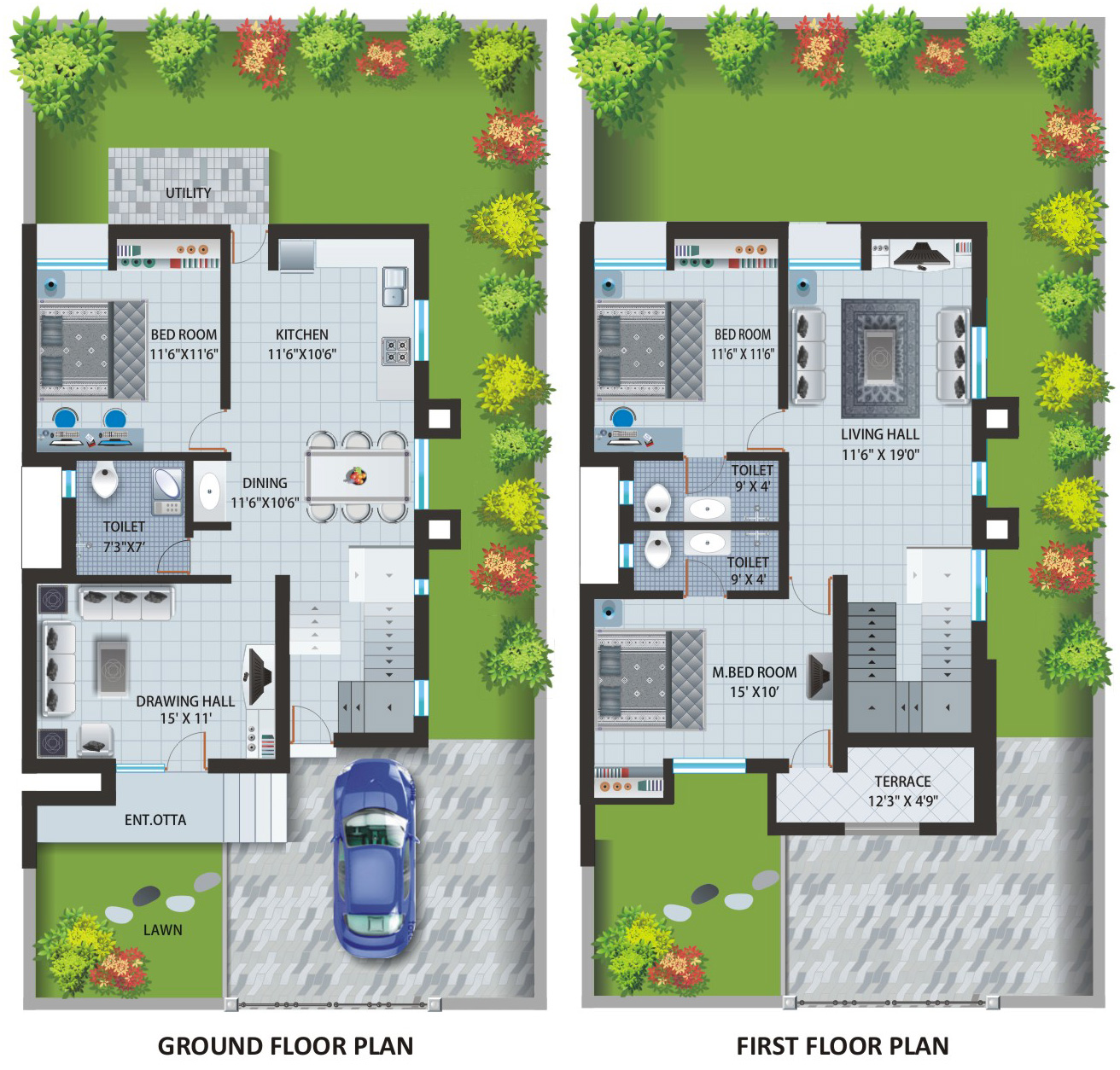 Home ideas Indian villa floor plans